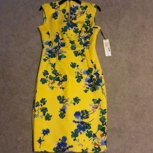 NWT Calvin Klein Yellow floral dress